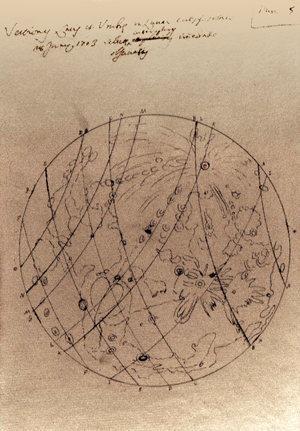 Drawing of the Moon by Manfredi, 1703